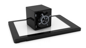 3d Safe on a tablet pc Stock Images