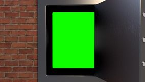 Safe vault closing greenscreen valuable security outro stock video footage