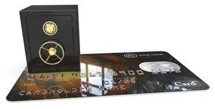 Safe vault on credit card Stock Image