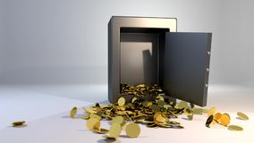 Safe vault fall spill gold coins falling spilling valuable win land landing stock video footage
