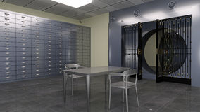 Safe Vault, inside of a bank vault with deposit boxes and metal table and chairs, 3D illustration Royalty Free Stock Image