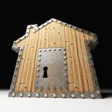 Safe wood house. Metaphor of safe wood house 3d background Stock Images