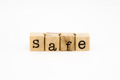 Safe wording isolate on white background Stock Photos