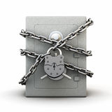 Safe wrapped a chain with a large granary castle Royalty Free Stock Photography