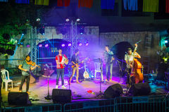 Klezmer Festival 30th in Safed Tzfat, Israel. SAFED, ISRAEL - AUGUST 23, 2017: Group of musicians Gute Gute play at the Klezmer Festival in Safed Tzfat, Israel Royalty Free Stock Images