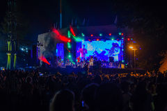 Klezmer Festival 30th in Safed Tzfat, Israel. SAFED, ISRAEL - AUGUST 23, 2017: Scene of the Klezmer Festival, with crowd watching musicians in Safed Tzfat Royalty Free Stock Image