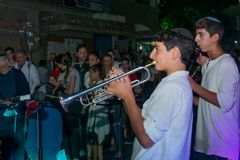 Klezmer Festival 2018 in Safed Tzfat. Safed, Israel - August 14, 2018: Scene of the Klezmer Festival, with street musicians and crowd. Safed Tzfat, Israel. Its stock images