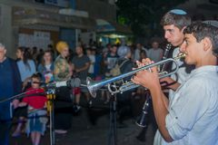 Klezmer Festival 2018 in Safed Tzfat. Safed, Israel - August 14, 2018: Scene of the Klezmer Festival, with street musicians and crowd. Safed Tzfat, Israel. Its stock image