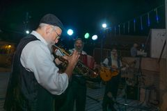 Klezmer Festival 2018 in Safed Tzfat. Safed, Israel - August 14, 2018: Scene of the Klezmer Festival, with street musicians playing, in Safed Tzfat, Israel. Its stock image