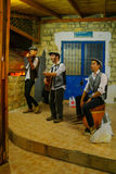 Klezmer Festival 30th in Safed Tzfat, Israel. SAFED, ISRAEL - AUGUST 23, 2017: Scene of the Klezmer Festival, with street musicians playing, in Safed Tzfat stock photo