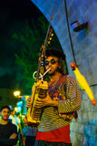 Klezmer Festival 30th in Safed Tzfat, Israel. SAFED, ISRAEL - AUGUST 23, 2017: Scene of the Klezmer Festival, with street musicians playing, in Safed Tzfat Royalty Free Stock Photos