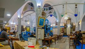 Purim 2018 in the old Abuhav synagogue, Safed Tzfat. SAFED, ISRAEL - FEB 28, 2018: Traditional Purim Jewish Holiday in the old Abuhav synagogue with prayers Royalty Free Stock Image