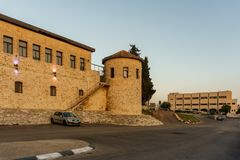Safed, Israel - March 31, 2018: The Wolfson Community Center at Edmond Safra square. Safed, Israel - March 31, 2018: The Wolfson Community Center at Edmond stock photography