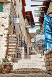 Alley of old city, SAFED, ISRAEL royalty free stock photography