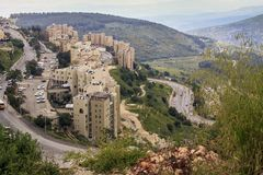 Modern development district Safed, Israel royalty free stock images