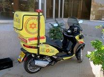Motor scooter Magen David Adom in Israel. SAFED, ISRAEL - SEPTEMBER 25, 2017: Motor scooter medical service Magen David Adom in Safed Royalty Free Stock Image