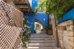 A quiet street in the early morning in the Jewish Quarter in the old town of Safed royalty free stock image