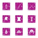 Safeguard icons set, grunge style. Safeguard icons set. Grunge set of 9 safeguard vector icons for web isolated on white background Royalty Free Stock Image