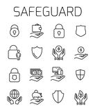 Safeguard related vector icon set. Well-crafted sign in thin line style with editable stroke. Vector symbols  on a white background. Simple pictograms Royalty Free Stock Photography