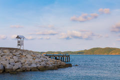 Safeguard stand over the coastline stock photography