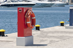 Safeguards and moorings at harbour Royalty Free Stock Photography