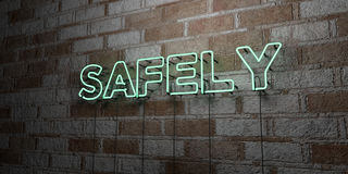 SAFELY - Glowing Neon Sign on stonework wall - 3D rendered royalty free stock illustration Royalty Free Stock Image