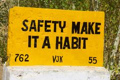 Safery make it a habit. Road sign `Safery make it a habit` in The Indian Himalayas on the border with Pakistan royalty free stock photos