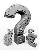 Safes. Synthesis from money symbols and banking safes Stock Image