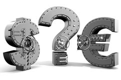 Safes. Synthesis from money symbols and banking safes Royalty Free Stock Photo
