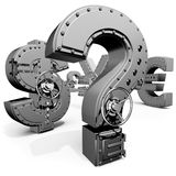 Safes. Synthesis from money symbols and banking safes Stock Photos