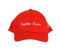 Safetey Team Hat. A red hat or cap with the words Safety Team printed on the front Royalty Free Stock Photos