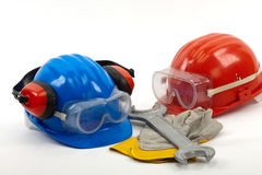 Safety. Gear kit and tools close up Stock Photos