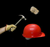 Safety. Conceptual view of elements concerning safety at work.Isolated on black background for latter use royalty free stock image