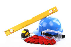 Safety. Gear kit close up over white Stock Photo