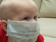 Safety. Little girl in a medical mask Royalty Free Stock Image