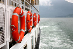 Safety. Measures on board of a lake ferry stock image