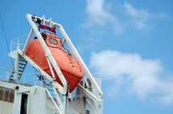 Safety. Rescue boat on a vessel Stock Image
