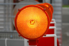 Safety amber light. Amber beacon flashing lights for road works safety Stock Image