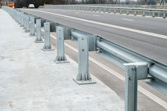 Safety barrier on freeway bridge Royalty Free Stock Images
