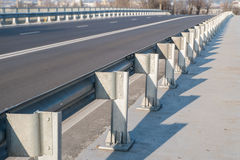 Safety barrier on freeway bridge Royalty Free Stock Photo