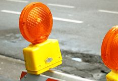 Safety beacon. A safety light on a sawhorse for traffic calming Royalty Free Stock Photo