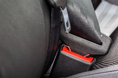 Safety belt installed in the car Stock Photos
