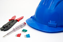 Safety blue helmet and tools. For workers Stock Photo