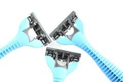 Safety blue plastic razor isolated on white. Stock Photos