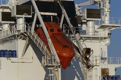 Safety on board modern merchant navy vessel Royalty Free Stock Images