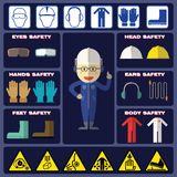 Safety Boy With Safety Equipments. Safety Boy With Basic Safety Equipments and Signs Stock Images