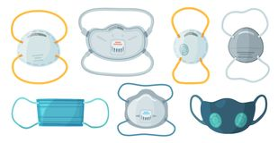 Safety breathing masks. Industrial safety N95 mask, dust protection respirator and breathing medical respiratory mask. Hospital or pollution protect face stock illustration