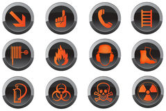 Safety button icons. Set of circular safety icon buttons isolated on white background Royalty Free Stock Photography