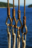 Safety cables and ropes on ferry Royalty Free Stock Images