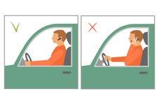Safety car driving, danger using phone. No mobile vector illustration